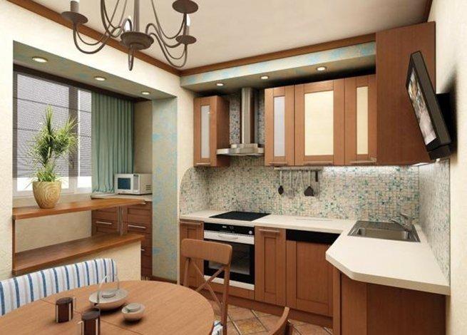 Варианты совмещения кухни с балконом