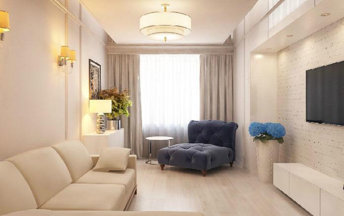 Дизайн интерьера для узкой длинной комнаты