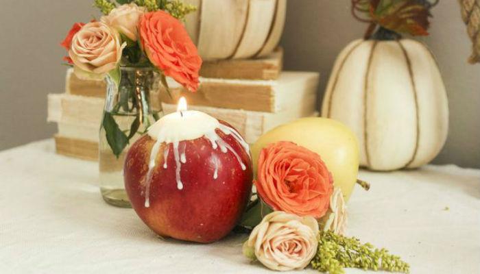 Яблочные свечи своими руками2