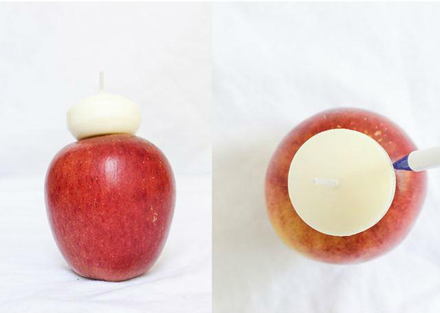 Яблочные свечи своими руками4