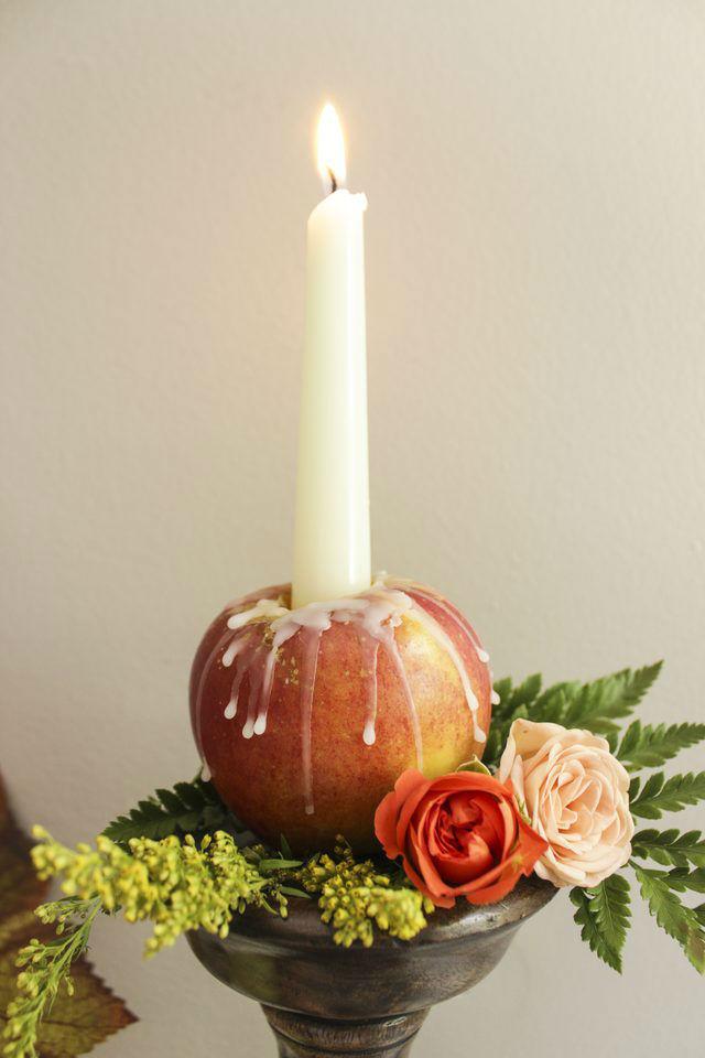 Яблочные свечи своими руками8