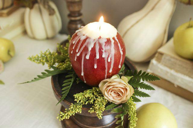 Яблочные свечи своими руками9