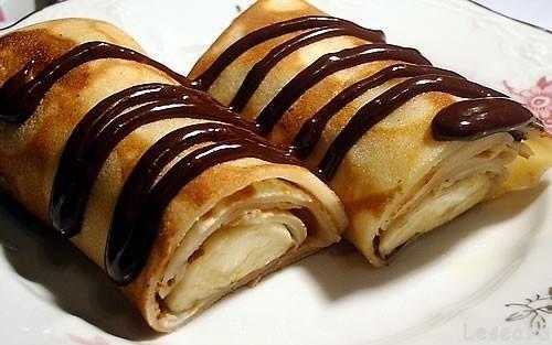 Видео рецепт тонких блинов с бананом и шоколадом