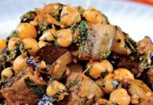 Пикантный салат из баклажанов и нута