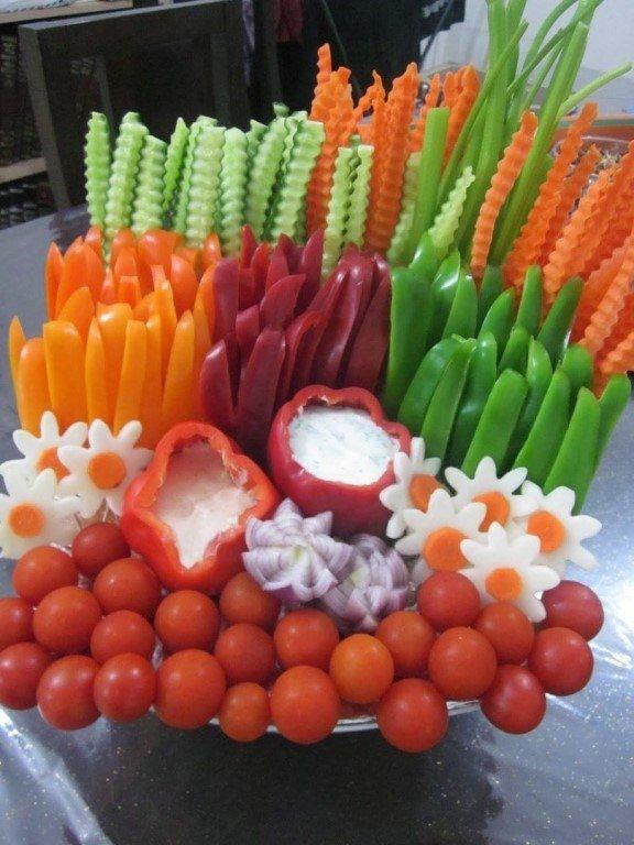 Идеи оформления овощных тарелок
