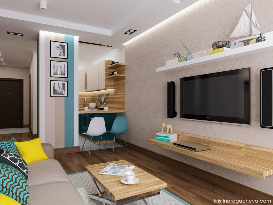 Двухкомнатная квартира с объединенной кухней — гостиной