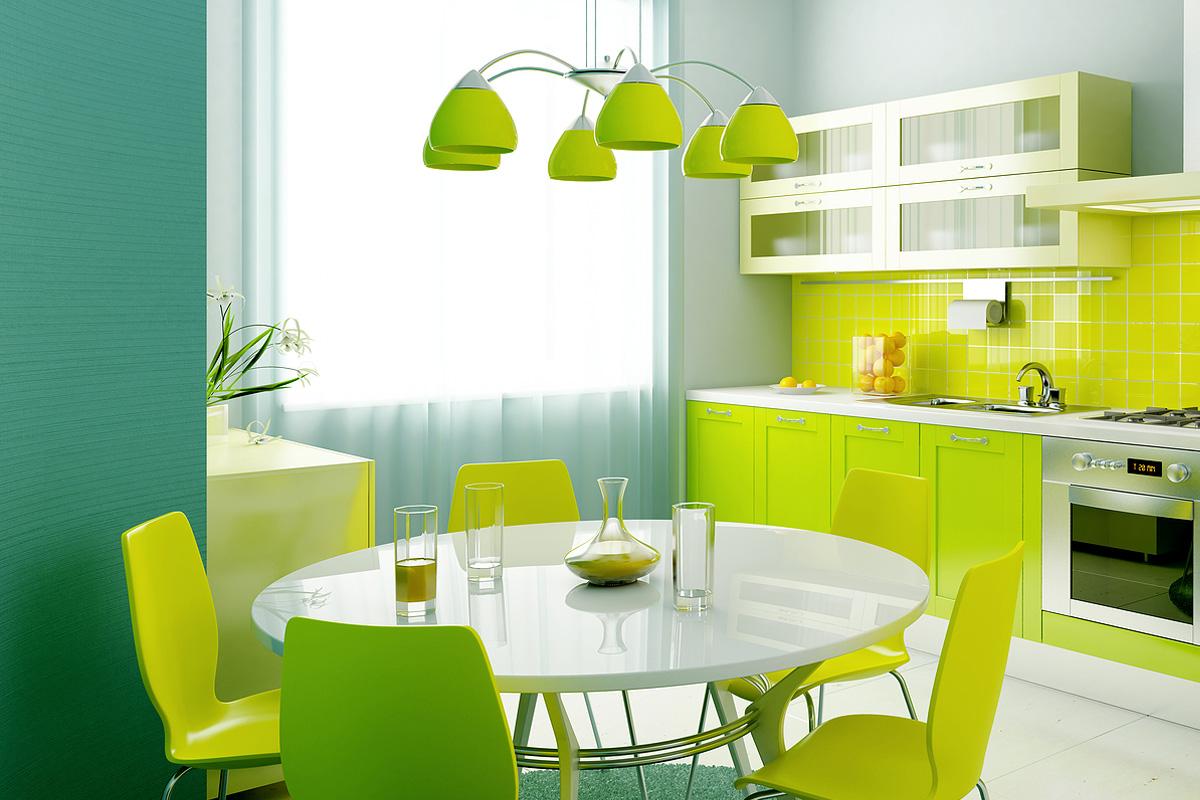 Сочный и яркий интерьер кухни