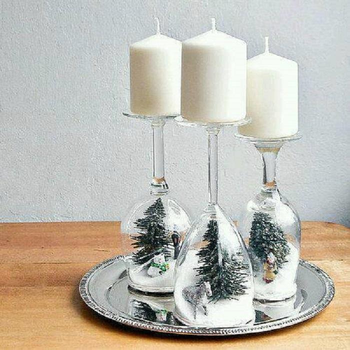 Фужеры и бокалы для новогоднего декора