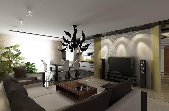 Идеи стильных комнат с люстрами черного цвета
