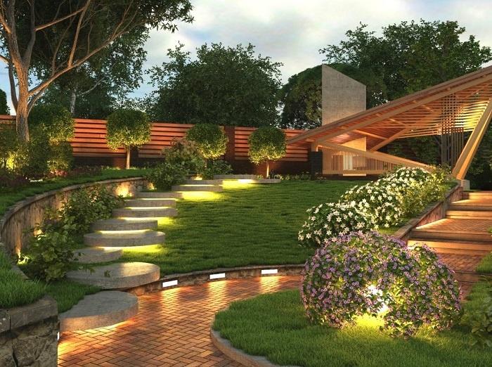Красивые садовые дорожки, правильно подобранное освещения, минималистский стиль и натуральные материалы.