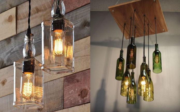 Декор светильников из бутылок