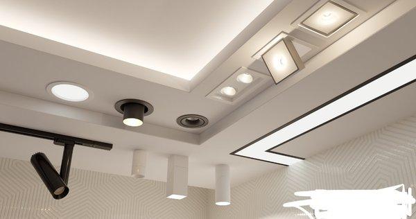 В гипсокартон можно встроить любой светильник.