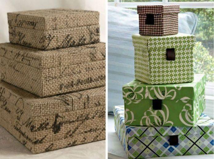 Варианты украшения картонных коробок
