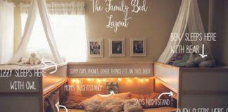 Многодетная пара соорудила большую кровать, в которой помещается сразу вся семья