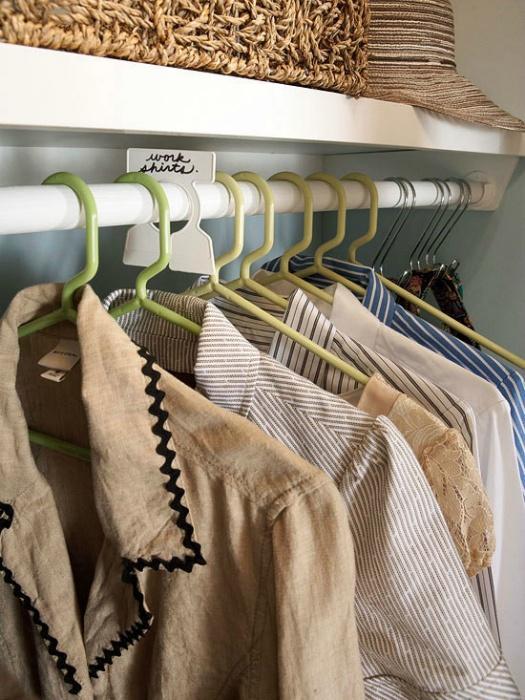 Маркировка одежды в шкафу.