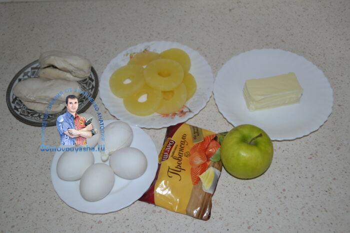Салат с ананасом и курицей рецепт слоями