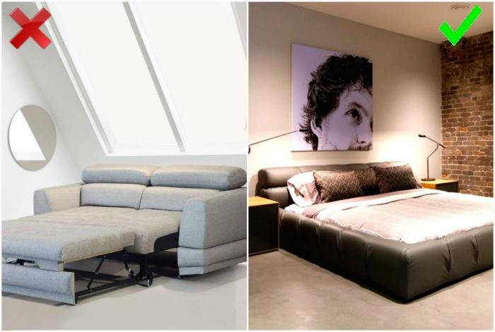 Раскладной диван вместо кровати.   Фото: Мебельный портал, Remoo.RU.