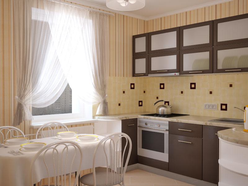 Использование бежевых обоев в полоску в интерьере кухни