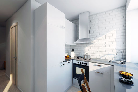 Кирпичная кладка на кухне в хрущевке
