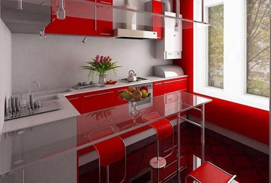 Красно белая кухня в хрущевке