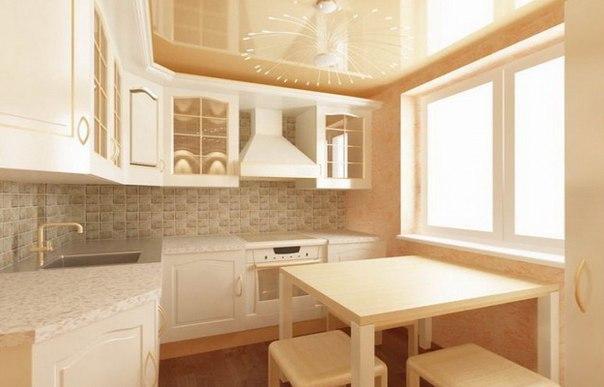 Оригинальное оформление потолка в небольшой кухне хрущевки
