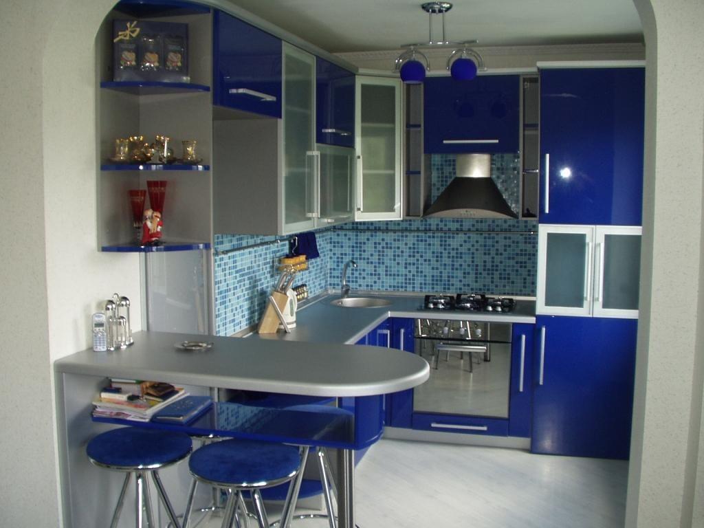 Сине серая кухня в хрущевке
