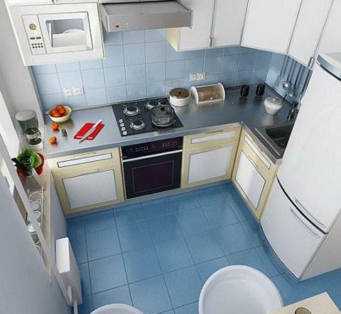 Синяя плитка на полу в кухне