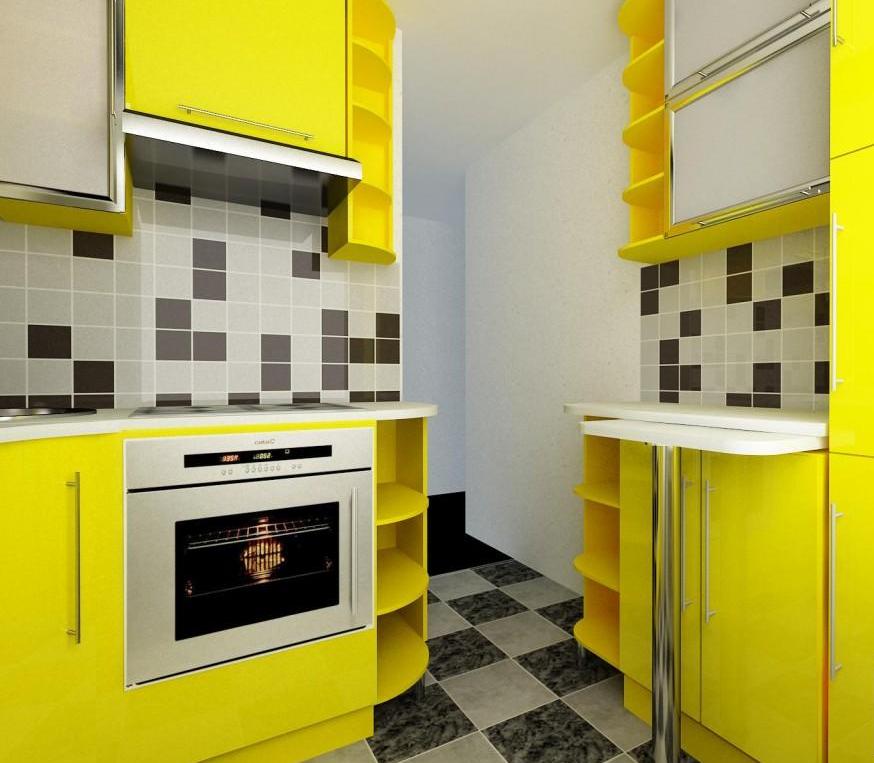 Желтая малогабаритная кухня